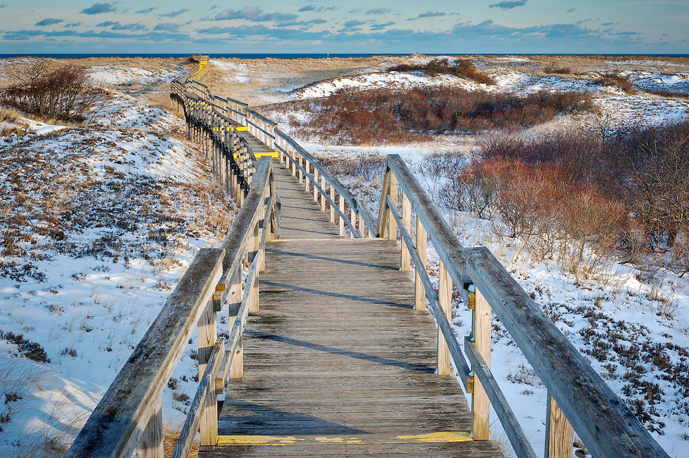 Boardwalk across the dunes at Plum Island National Wildlife refuge.