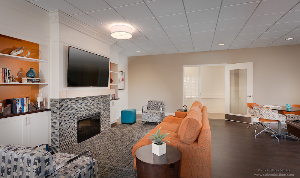 Interior image of the clubroom at the Allendale Apts in Baltimore Maryland by Jeffrey Sauers of Commercial Photographics, Architectural Photo Artistry in Washington DC, Virginia to Florida and PA to New England