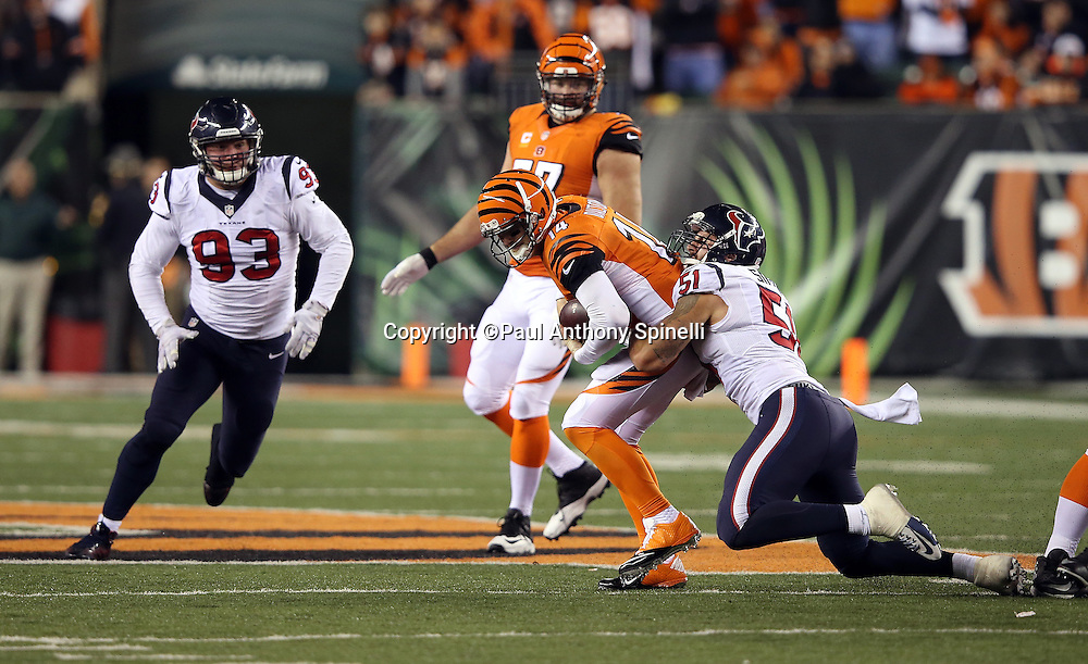 Cincinnati Bengals quarterback Andy Dalton (14) gets sacked by Houston Texans outside linebacker John Simon (51) with less than two minutes left in the fourth quarter during the 2015 week 10 regular season NFL football game against the Houston Texans on Monday, Nov. 16, 2015 in Cincinnati. The Texans won the game 10-6. (©Paul Anthony Spinelli)