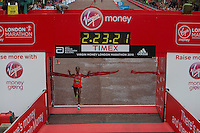 Tigist Tufa of Ethiopia crosses the finish line to win the Elite Womens race at the Virgin Money London Marathon , Sunday 26th April 2015.<br /> <br /> Dillon Bryden for Virgin Money London Marathon<br /> <br /> For more information please contact Penny Dain at pennyd@london-marathon.co.uk