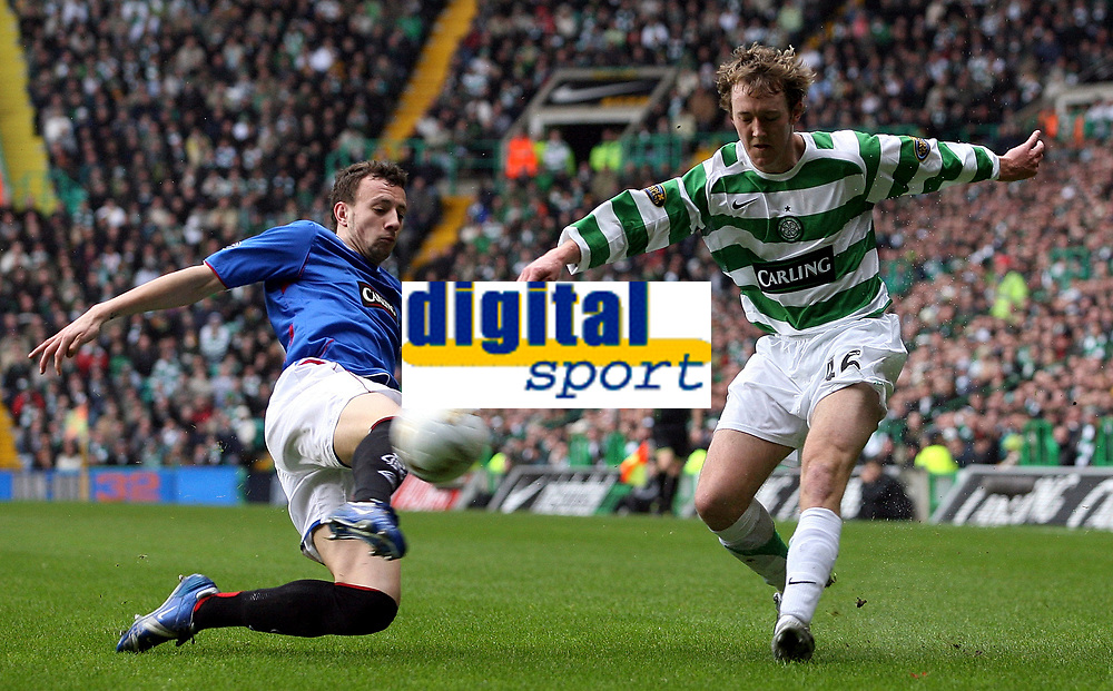 Photo: Paul Thomas.<br /> Glasgow Celtic v Glasgow Rangers. Bank of Scotland Scottish Premier League. 11/03/2007.<br /> <br /> Aiden McGready (R) of Celtic crosses in-front of Alan Hutton.