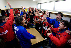Players of Primorje celebrate in a wardrobe after the football match between NK Primorje Ajdovscina and NK Triglav Gorenjska of Second Slovenian football league, on May 16, 2010 in Vipava, Slovenia. Primorje placed first in 2.SNL and qualified for  PrvaLiga in season 2010/2011. (Photo by Urban Urbanc / Sportida)