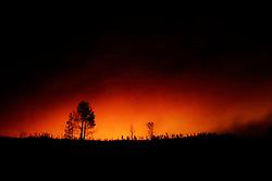 September 12, 2015 - Lake County, California. Valley Fire glow seen from vicinity of Lake Berryessa along Berryessa Knoxville Road.  (Kim Ringeisen / Polaris)