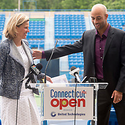 June 9, 2015, New Haven, CT:<br /> Former ATP World Tour star and Connecticut Open Legends Event Participant James Blake and Tournament Director Anne Worcester speak during a press conference at the Connecticut Tennis Center to announce the new Connecticut Open 50/50 Project and the renewal of United Technologies sponsorship of the tournament through the 2017 in New Haven, Connecticut Tuesday, June 9, 2015.<br /> (Photos by Billie Weiss/Connecticut Open)