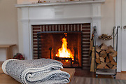 Harraseeket Inn-LL Bean Fireplace and wood cradle