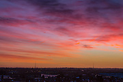UNITED KINGDOM, London: 13 Jan 2016 The sun starts to rise over the two masts of the Crystal Palace transmitting station on yet another beautiful January morning. Rick Findler / Story Picture Agency