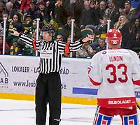 2020-01-17 | Umeå, Sweden:No goal for Timrå IK in  HockeyAllsvenskan during the game  between Björklöven and Timrå at A3 Arena ( Photo by: Michael Lundström | Swe Press Photo )<br /> <br /> Keywords: Umeå, Hockey, HockeyAllsvenskan, A3 Arena, Björklöven, Timrå, mlbt200117