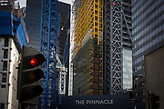 Construction in the capital where The Pinnacle project is stopped and on hold on Bishopsgate in the City of London. Construction work has been suspended again on the Pinnacle in the City of London. Contractor Brookfield is understood to have been told to stop work following more funding concerns over the Square Mile's tallest tower. Brookfield restarted work last September after developer Arab Investments put together a new finance package. But a lack of a pre-let tenant has now caused further delays on site leaving Byrne Bros concrete cores standing idle. The Bishopsgate Tower, informally referred to as The Pinnacle, was to be a 288 m (945 ft), 64-storey skyscraper in the centre of London's main financial district.