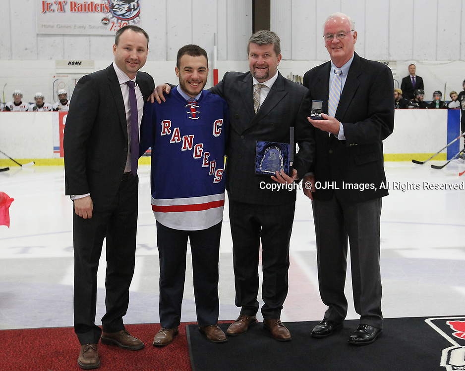 GEORGETOWN, ON  - APR 13,  2017: Ontario Junior Hockey League, Championship Series. Georgetown Raiders vs the Trenton Golden Hawks in Game 1 of the Buckland Cup Final. The 2017 OJHL Awards presentation held in a pre-game ceremony before game one of the Buckland Cup Championship Series, in Georgetown Ontario. Humanitarian-of-the-Year, Kyle Clarke of the North York Rangers.<br /> (Photo by Tim Bates / OJHL Images)