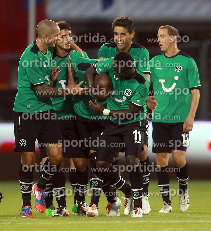 Europa League Third Qualifying Round 1st Leg, Dublin 2/8/2012.St. Patrick's Athletic vs Hannover 96.Christian Pander of Hannover (24) is mobbed by team mates after scoring his sides second goal. *** Local Caption *** © pixathlon