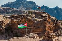 Jordan flags floating in Nabatean Petra middle east