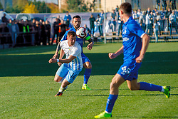 October 31, 2018 - Mynai Village, Zakarpattia Region, Ukraine - Defender Mykola Moroziuk (back) of FC Dynamo Kyiv and defender Robert Smokorovskyi of FC Mynai are seen in action during the Ukrainian Cup Round of 16 game at the stadium in Mynai village, Zakarpattia Region, western Ukraine, October 31, 2018. Ukrinform. (Credit Image: © Serhiy Hudak/Ukrinform via ZUMA Wire)