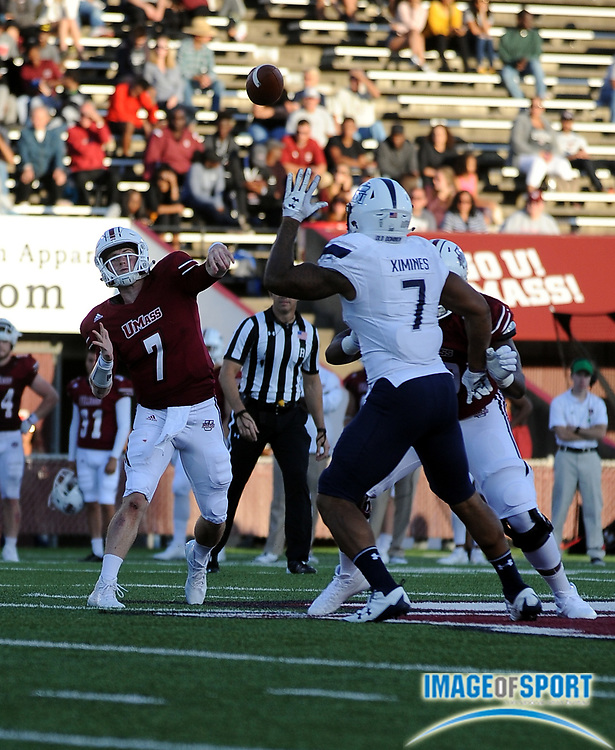 Sep 9, 2017; Amherst, MA, USA; Massachusetts quarterback Andrew Ford (7)  during a NCAA football game at McGuirk Alimni Stadium. The Old Dominion Monarchs defeated the University of Massachusetts Minutemen 17-7. Photo by Reuben Canales