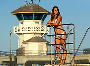 Woman In Bikini At The Huntington Beach Pier