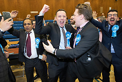 © Licensed to London News Pictures . 13/12/2019. Bury, UK. Conservatives celebrate their narrow win in the Bury North count after Labour candidate James Frith conceded to James Daly following a recount , at the count for seats in the constituencies of Bury North and Bury South in the 2019 UK General Election , at Castle Leisure Centre in Bury . Photo credit: Joel Goodman/LNP