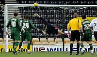 Photo: Glyn Thomas.<br />Derby County v Norwich City. Coca Cola Championship.<br />03/12/2005.<br />Norwich's keeper Robert Green (C) makes a superb save to deny Derby's Inigo Idiakez.