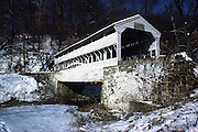 Knox covered bridge in snow; winter; horizontal; Valley Forge PA; Pennsylvania