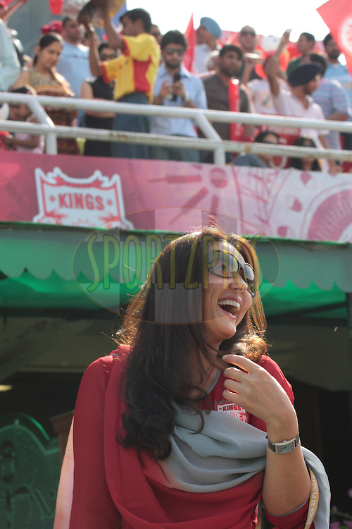 Preeti Zinta, Owner Kings XI Punjab during match 9 of the Indian Premier League ( IPL ) Season 4 between the Kings XI Punjab and the Chennai Super Kings held at the PCA stadium in Mohali, Chandigarh, India on the 13th April 2011..Photo by Anil Dayal/BCCI/SPORTZPICS
