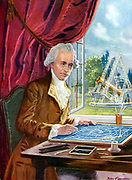 William Herschel (1738-1822) German-born English astronomer: discovered first new planet since ancient times, Uranus. Built telescopes, including the 40-foot reflector shown in background. Artist's reconstruction.