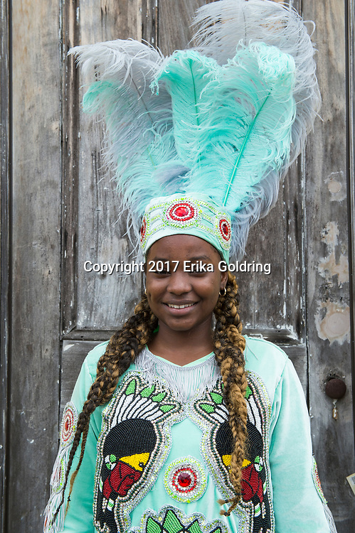 NEW ORLEANS, LA - FEBRUARY 28:  Natche Pleasant of the Golden Eagles Mardi Gras Indians poses for a photo outside Big Chief Monk Boudreaux's home on February 28, 2017 in New Orleans, Louisiana.  (Photo by Erika Goldring/Getty Images)