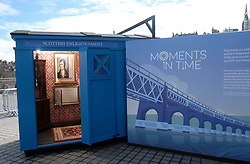 Moments In Time Exhibition, Friday 31st March 2017<br />  <br /> Edinburgh International Science Festival exhibition &quot;Moments In Time&quot; features four Scottish police boxes, each focusing on a key moment: the Enlightenment, the industrial revolution, the information age and 101 Scottish inventions. <br /> <br /> Curator Dr Sarah Thomas poses as 18th-century poet and socialite Alison Cockburn with Border Collie &quot;Bullet&quot; in the Enlightenment box. <br /> <br /> (c) Alex Todd | Edinburgh Elite media