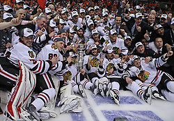 June 9, 2010; Philiadelphia, PA; USA;  The Chicago Blackhawks celebrate with the Stanley Cup after the Blackhawks defeated the Flyers 4-3 in Game 6 of the Stanley Cup Finals at the Wachovia Center.