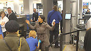 EXCLUSIVE<br /> HOLLYWOOD ACTRESS Selma Hayek getting frisked in secondary screening AT SLC airport after returning from Sundance.<br /> ©David Johnson/Exclusivepix Media