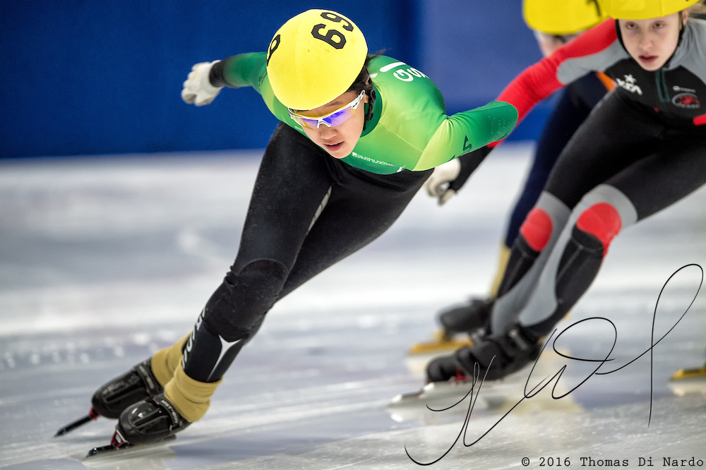 March 20, 2016 - Verona, WI - Katherine Liu, skater number 69 competes in US Speedskating Short Track Age Group Nationals and AmCup Final held at the Verona Ice Arena.