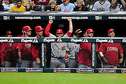 Sept. 15, 2010; Cleveland, OH, USA; The Los Angeles Angels celebrates from the dugout during the second inning  against the Cleveland Indians at Progressive Field. Mandatory Credit: Jason Miller-US PRESSWIRE