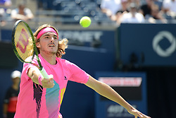 August 10, 2018 - Toronto, Ontario, Canada - STEFANOS TSITSIPAS of Greece in action in his quarterfinal match vs. A. Zverev in the Rogers Cup tennis tournament in Toronto Canada. (Credit Image: © Christopher Levy via ZUMA Wire)