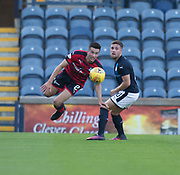 Dundee&rsquo;s Cammy Kerr clears from Raith&rsquo;s Lewis Vaughan - Raith Rovers v Dundee, Betfred Cup at Starks Park, Kirkcaldy, Photo: David Young<br /> <br />  - &copy; David Young - www.davidyoungphoto.co.uk - email: davidyoungphoto@gmail.com