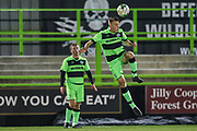 Forest Green Rovers Sam Hendy(4) heads the ball during the FA Youth Cup match between U18 Forest Green Rovers and U18 Cheltenham Town at the New Lawn, Forest Green, United Kingdom on 29 October 2018.