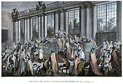 French Revolution of 1789: Coup d'etat of 9 November 1799,  the day Napoleon Bonaparte  overthrew  the Directoire. Hand-coloured engraving.
