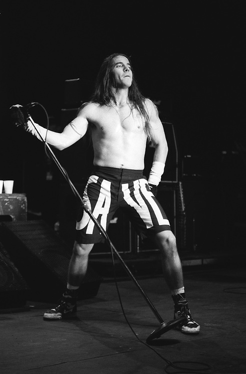 Anthony Kiedis singer of the band Red Hot Chili Peppers performs at Lollapalooza 1992 - Waterloo Village, New York on August 11, 1992.