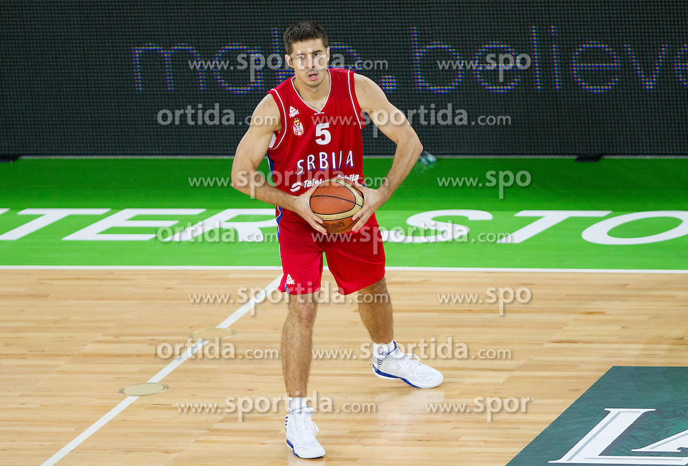 Milenko Tepic of Serbia during basketball match between National teams of Slovenia and Serbia in day 3 of Adecco cup, on August 5, 2012 in Arena Stozice, Ljubljana, Slovenia. (Photo by Vid Ponikvar / Sportida.com)