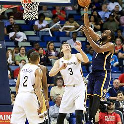 Oct 4, 2016; New Orleans, LA, USA;  Indiana Pacers center Al Jefferson (7) shoots over New Orleans Pelicans center Omer Asik (3) during the second half of a game at the Smoothie King Center. The Pacers defeated the Pelicans 113-96. Mandatory Credit: Derick E. Hingle-USA TODAY Sports