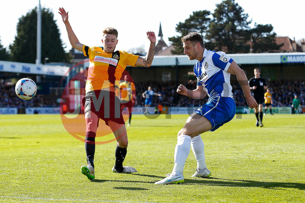 Lee Brown of Bristol Rovers crosses - Photo mandatory by-line: Rogan Thomson/JMP - 07966 386802 - 11/04/2015 - SPORT - FOOTBALL - Bristol, England - Memorial Stadium - Bristol Rovers v Southport - Vanarama Conference Premier.