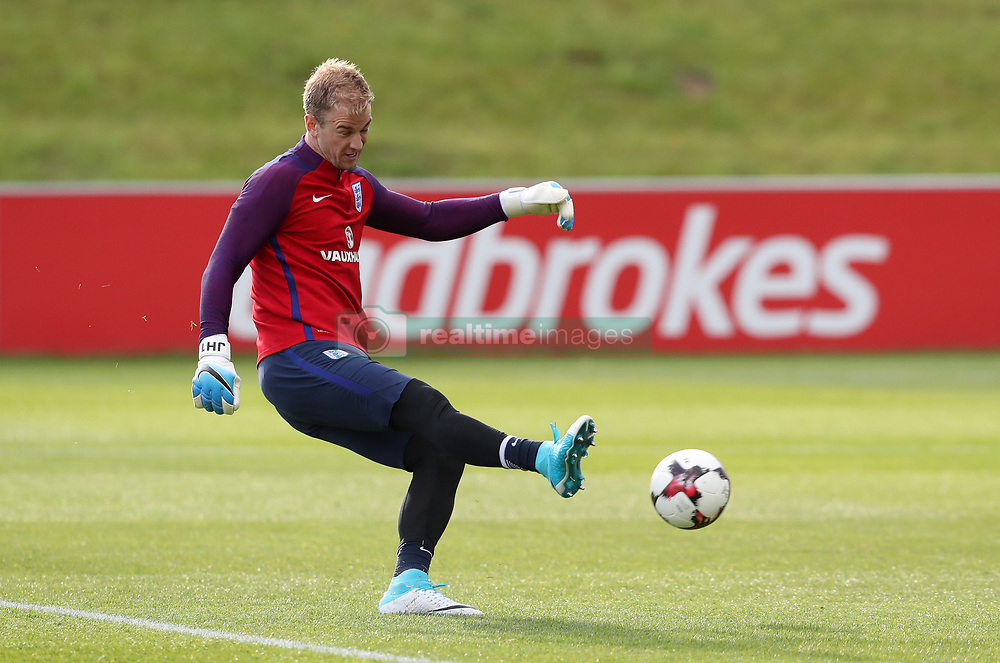 England's Joe Hart during the training session at St George's Park, Burton.