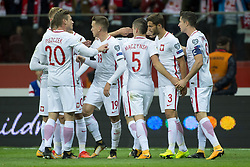October 8, 2017 - Warsaw, Poland - The polish players celebrate scoring during the FIFA World Cup 2018 Qualifying Round Group E match between Poland and Montenegro at National Stadium in Warsaw, Poland on October 8, 2017  (Credit Image: © Andrew Surma/NurPhoto via ZUMA Press)