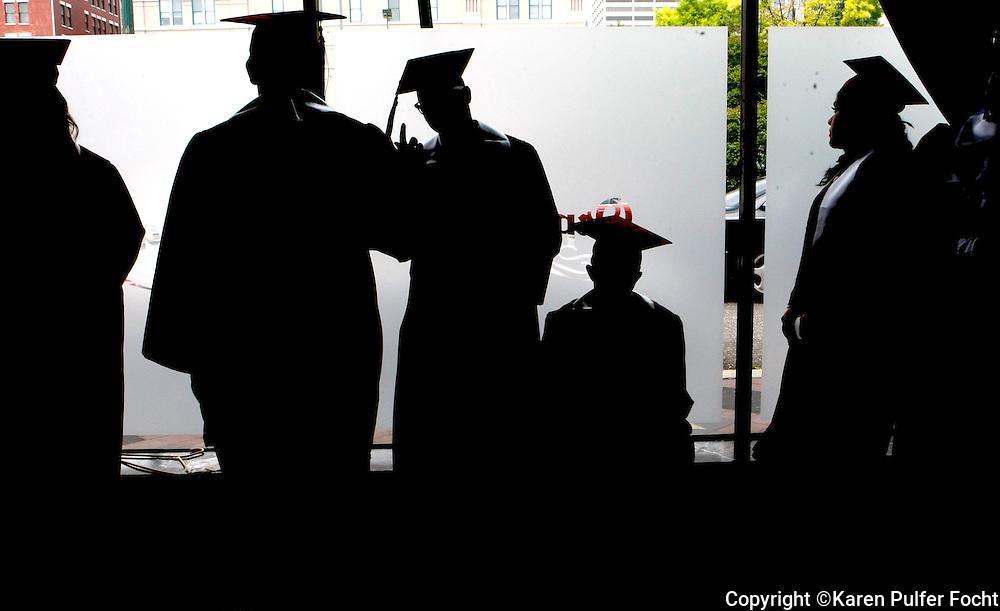 Students prepare for graduation.