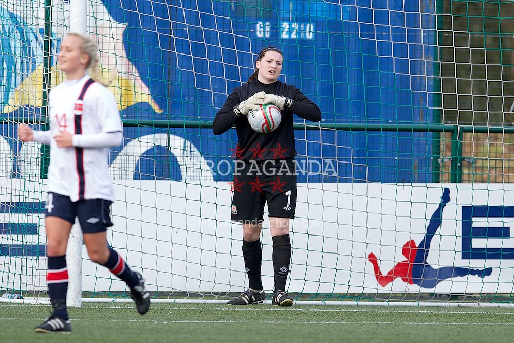 OSWESTRY, ENGLAND - Sunday, February 3, 2013: Wales' goalkeeper Alice Evans looks dejected as Norway score the opening goal during the Women's Under-19 International Friendly match at Park Hall. (Pic by David Rawcliffe/Propaganda)