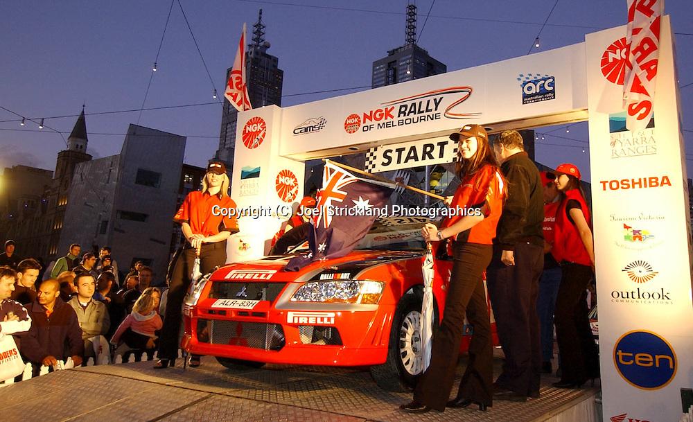 Spencer LOWNDES & Chris RANDELL.Mitsubishi Lancer Evolution VII.Motorsport-Rally.2003 NGK Rally of Melbourne.Yarra Valley, Victoria .5th of October 2003 .(C) Joel Strickland Photographics