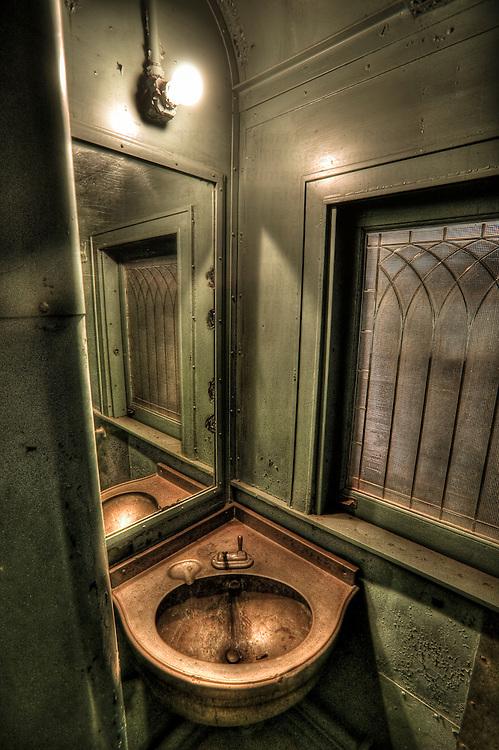 Bathroom on a vintage train car