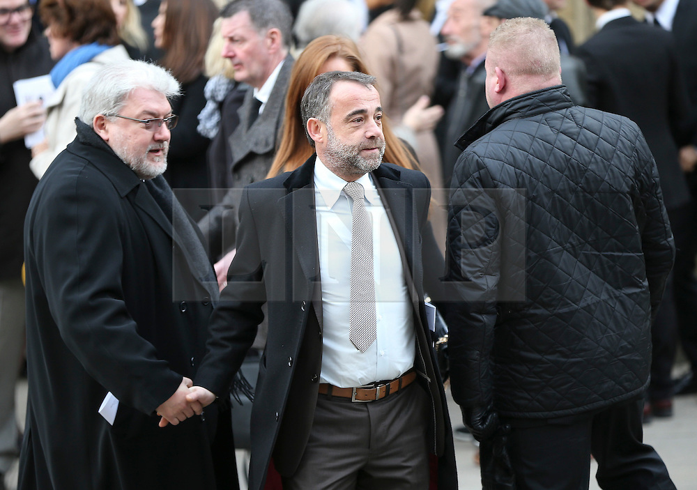 © Licensed to London News Pictures . 18/03/2016 . Manchester , UK . Michael Le Vell leaves the service. Television stars and members of the public attend the funeral of Coronation Street creator Tony Warren at Manchester Cathedral . Photo credit : Joel Goodman/LNP