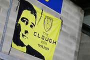 Clough banner at Pirelli Stadium, following Nigel Clough's rejection of the Nottingham Forest approach, during the EFL Sky Bet Championship match between Burton Albion and Fulham at the Pirelli Stadium, Burton upon Trent, England on 1st February 2017. Photo by Richard Holmes.