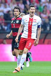 11.10.2014, National Stadium, Warsaw, POL, UEFA Euro Qualifikation, Polen vs Deutschland, Gruppe D, im Bild ROBERT LEWANDOWSKI, ZLOSC SMUTEK STRATA // during the UEFA EURO 2016 Qualifier group D match between Poland and Germany at the National Stadium in Warsaw, Poland on 2014/10/11. EXPA Pictures © 2014, PhotoCredit: EXPA/ Newspix/ Michal Stanczyk<br /> <br /> *****ATTENTION - for AUT, SLO, CRO, SRB, BIH, MAZ, TUR, SUI, SWE only*****