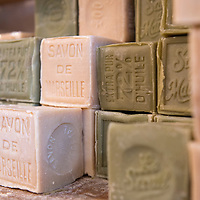 Cubes of Marseille soap on display at 72% Petanque, a soap shop located in the Panier neighborhood of Marseille, France.