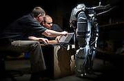 Engineers work on REX, the breakthrough bionic artificial legs designed and manufactured at Rex Bionics in Auckland.
