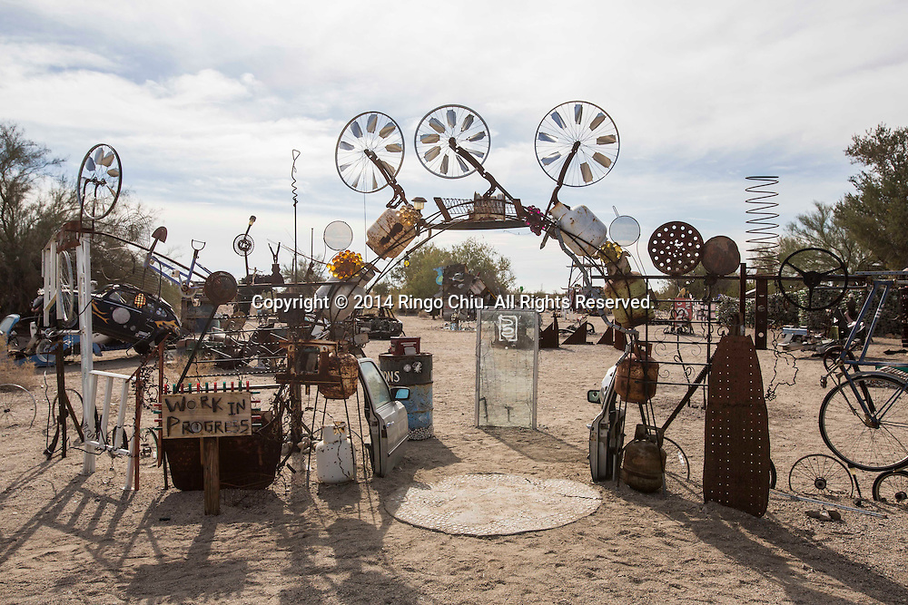 Art works are displayed at East Jesus, an experimental, habitable, extensible artwork gallery, on  January 4, 2014, in Slab City, California. Slab City or The Slabs is a snowbird campsite in the Colorado Desert in southeastern California, used by recreational vehicle owners and squatters from across North America. It takes its name from the concrete slabs that remain from the abandoned World War II Marine barracks of Camp Dunlap. (Photo by Ringo Chiu/PHOTOFORMULA.com)