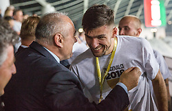 Rok Kronaveter of NK Olimpija receiving a medal from Radenko Mijatovic, president of NZS at Trophy ceremony after winning during football match between NK Aluminij and NK Olimpija Ljubljana in the Final of Slovenian Football Cup 2017/18, on May 30, 2018 in SRC Stozice, Ljubljana, Slovenia. Photo by Vid Ponikvar / Sportida